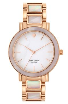 kate spade new york 'gramercy grand' mother-of-pearl bracelet watch, 38mm | Luminous mother-of-pearl graces the dial, bezel and center links of an exquisite round bracelet watch.