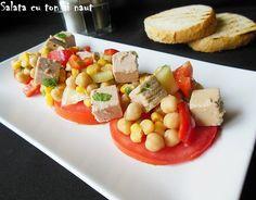 Reteta culinara Salata cu ton si naut din categoria Salate. Cu specific romanesc.. Cum sa faci Salata cu ton si naut Cooking Recipes, Salads, Chef Recipes, Recipes