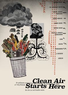 Anti-Car Pollution Protest Poster by Tree x Three.