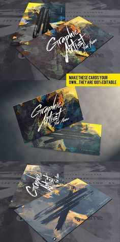 Premium artistic business cards design ideal for Artists and Designers, available for purchasing from Graphicriver.