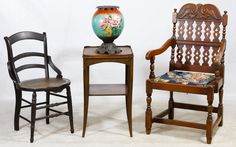 Lot 651: Victorian Furniture Assortment; Including a carved wood arm chair with needlepoint over rush seat, a cane seated occasional chair, a mahogany lamp stand and a hand painted glass oil lamp base