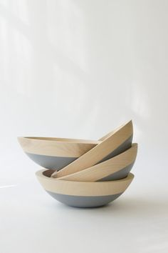 "7"" Wooden Salad Bowl Soft Grey"