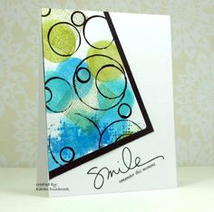 handmade card from Create by k dunbrook ... look of modern art ... tilted off-the-edge panel ... big soft circles stamped in greens and olive ... overstamped with geometric circle design ... luv it!