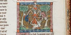 Arthur on the wheel of fortune, from Le Mort Artu, France, N. (Saint-Omer or Tournai), c. 1316,  Add MS 10294, f. 89r