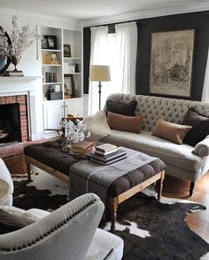 at home with dear lillie summer home tour with jenni / love the light & dark contrast in this living room. Room, Home Living Room, Room Design, Home Decor, House Interior, Apartment Decor, Interior Design, Living Decor, Living Room Designs