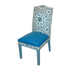 Nailhead-trimmed side chair with leather and cotton upholstery and a suzani motif.     Product: Side chair  Construction M...