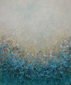 """Blue Wood Mist by Lisa Carney, 48x40"""", acrylic on canvas"""
