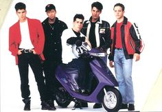 They look like badasses (sort of) and mind you this is a scooter and scooters are never cool. Donnie And Mark Wahlberg, Danny Wood, Kennedy Jr, Head S, Jordan Knight, The Right Stuff, Famous Celebrities, New Kids, Back In The Day