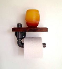 Rustic toilet paper holder: made from pipe fittings. Cute idea! 40 Rustic Home Decor Ideas You Can Build Yourself - Page 7 of 9 - DIY & Crafts