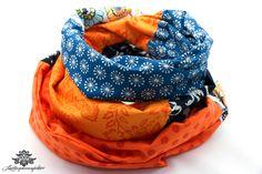 Loopschal Loop orange blau von #Lieblingsmanufaktur