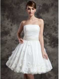 A-Line/Princess Strapless Knee-Length Organza Wedding Dress With Ruffle Beadwork Flower(s) (002024080) - JJsHouse   Reception Dress