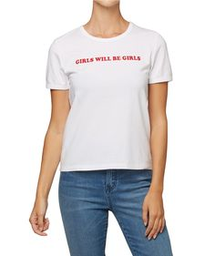 Channel the past with the Girls Will Be Girls Retro Tee. This basic tee shirt fits close to the body and features front print.