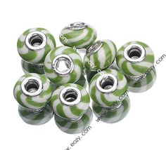 10x15mm Bright Green Hand Painting 925 Sterling Silver Core Porcelain European Beads Fit Bracelet #eozy