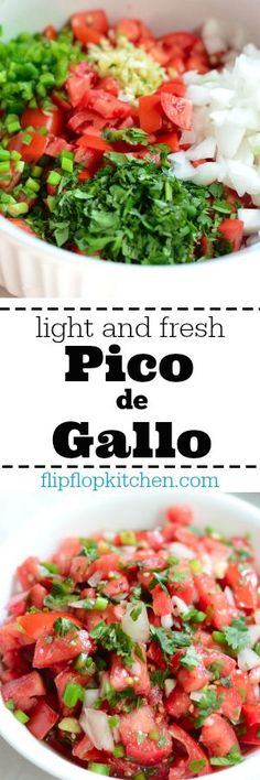 This pico de gallo recipe is simple yet packed with the bold and fresh flavors… Appetizer Recipes, Salad Recipes, Appetizers, Mexican Dishes, Mexican Food Recipes, Ethnic Recipes, Cooking Recipes, Healthy Recipes, Healthy Meals