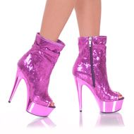 Come alive as a Barbie girl with this Open Toe Sequin Bootie