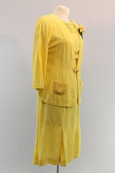 Stunning, pristine 1940s dress and jacket! Done in sunny yellow rayon. Dress has the most exquisite cording soutache detail on the collar. Short