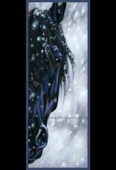 Snow Friesian Black Horse Print of original pastel painting drawing equine art