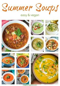 Summer Soup Recipes - made with garden fresh vegetables, these easy vegan soups are perfect for enjoying in the hot summer months. Some are served chilled, some are warm, but they are all dairy free, light and delicious! #soup #summer #vegan #vegetarian Summer Soup Recipes, Healthy Soup Recipes, Vegan Recipes Easy, Veggie Recipes, Light Recipes, Cooking Recipes, Veggie Food, Vegan Carrot Soup, Easy Vegan Soup