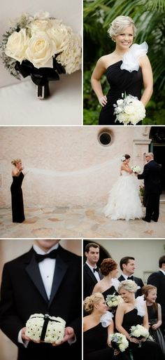 Black and White wedding inspiration-- I should add pops of color so it's not so boring.