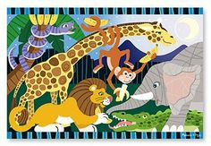 * SAFARI SOCIAL FLOOR PUZZLE by MotivationUSA. $16.58. melissa and Doug quality floor puzzle, wild animals of Africa feeding. each other bananas, easy clean pieces, thicker and children friendly,. * A bunch of wild animals are having a party with a bunch of bananas in this wild animal cardboard floor puzzle. 2' x 3' when complete, it features 24 extra-thick pieces that are 20% thicker than the competition's. Its easy-clean surface keeps puzzle looking new.