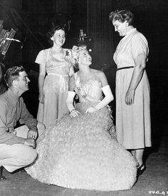 Doris Day with her brother, Paul, sister-in-law, Shirley, and mother, Alma, on the set of The West Point Story