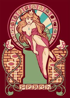 Art: art nouveau, video game, Super Mario Brothers, Princess Peach Nouveau by Megan Lara