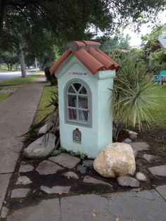 Marla Frazee. Pasadena, CA. Our library is primarily focused on children's picture books, so it was designed to be easily accessible to a child reader. There's a rock to sit on, a low shelf, and an easy-to-open door. There are books in plenty of other genres, too. Please come and enjoy.