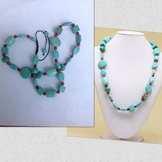 """Turquoise Gemstone Hand Crocheted Necklace Blue stabilized turquoise with Red Sea Coral and hand crocheted. Length 20 1/2"""" to 25"""" adjustable. New! Jewelry Necklaces"""