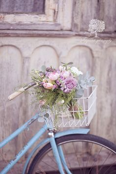 vintage bike with flower basket...