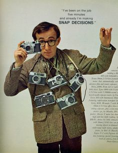 Woody Allen Poses with a Bunch of Rangefinders for Playboy, May 1966