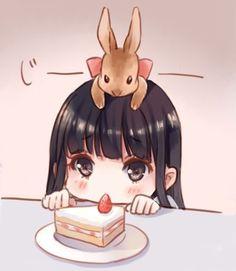 The Cake is mine Chibi Kawaii Chibi, Cute Chibi, Cute Art, Chibi Girl, Kawaii Drawings, Anime Characters, Cute Drawings, Chibi Drawings, Cute Anime Chibi
