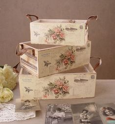 Discover thousands of images about Decoupage Decoupage Vintage, Decoupage Box, Vintage Shabby Chic, Shabby Chic Crafts, Shabby Chic Decor, Wooden Crates, Wooden Boxes, Wood Crafts, Diy And Crafts