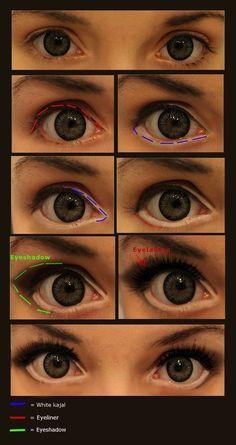 10 makeup tutorials to draw anime eyes cosplay-make . - 10 make up tutorials to draw anime eyes Cosplay make-up © JackyChip. If you use Devian - Anime Eye Makeup, Eye Makeup Art, Beauty Makeup, Makeup Lips, Anime Cosplay Makeup, Makeup Brush, Diy Beauty, Doll Eye Makeup, Weird Makeup