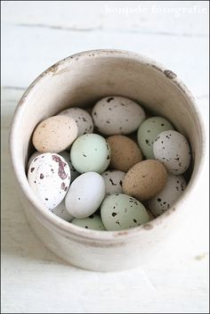 Easter eggs, natural with painted speckles.