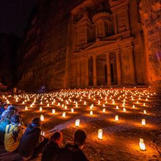 #Petra the ancient Nabatean city carved into mountains of Red-rose stones is one of the world's 7 wonders. Visit #Jordan and see this amazing city during the #PetraByNight experience #candle #night #travel #tourism #exotic #DeadSea #ZamanToursJordan