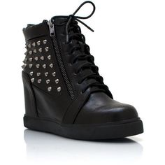 spiked wedge sneakers ($60) ❤ liked on Polyvore