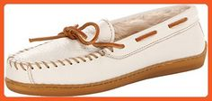Minnetonka Women's Lined Leather Boat Moc Off White Boat Shoe 7 M - Loafers and slip ons for women (*Amazon Partner-Link)