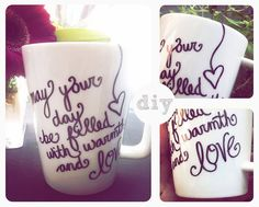 Write or draw with a Sharpie and bake for 30 minutes at 350 degrees = permanent custom decorated mugs/ plates/ bowls/ whatever!