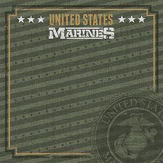Paper House U.S. MARINES EMBLEM 12x12 Scrapbooking (2PCS) Paper Military