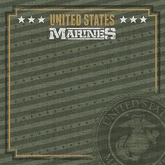 MARINES EMBLEM 12x12 Scrapbooking (2) Papers U.S. Military