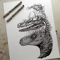 Dinosaurio   13 intrigantes dibujos de calaveras de animales convertidas en obras de arte - Yahoo Noticias España