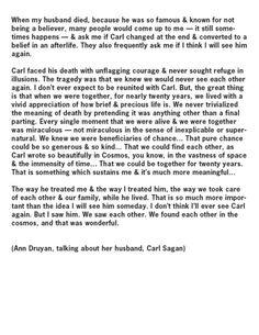 Ann Druyan on her husband, Carl Sagan's, acceptance of both life and death...