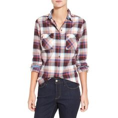 2220dc91 Women's Barbour 'Darwen' Plaid Shirt ($129) ❤ liked on Polyvore featuring  tops