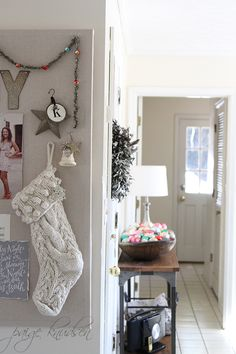 the stocking. yes. and the dough bowl full of vintage ornaments.
