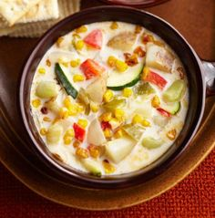 Three Sisters Corn-and-Chili Chowder, with corn, beans and squash.