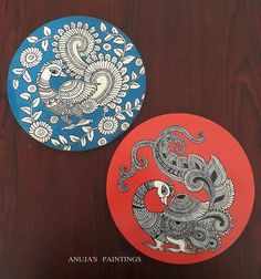 Kalamkari Painting, Madhubani Painting, Pichwai Paintings, Indian Art Paintings, Peacock Painting, Fabric Painting, Soft Pastel Art, Coaster Art, Madhubani Art