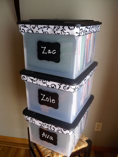 organize kids school memories bins to save those report cards , favorite papers , paperwork , pictures from each grade ..  http://www.organizethisfamily.blogspot.com/
