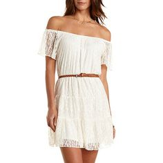 Belted & Tiered Lace Dress: Charlotte Russe