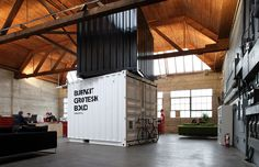 Burnkit Grotesk Bold Shipping Container in Industrial Office Space Industrial Workspace, Industrial Office Design, Industrial Interiors, Office Interior Design, Modern Industrial, Studio Interior, Design Offices, Modern Interiors, Container Architecture