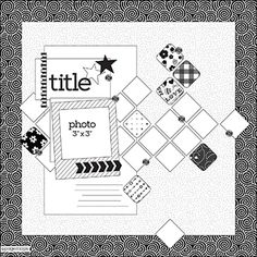 Page Maps - 1 Photo. really like the small squares set as diamonds for the background. (would probably use this for more than one pic, though...)